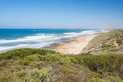 Barwon Heads Park. The view towards Thirteenth Beach from Barwon Heads Park on a hot summer`s day in Barwon Heads, Victoria, Australia royalty free stock images