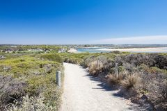 Barwon Heads Park. The view towards Barwon heads town from Barwon Heads Park on a hot summer`s day in Barwon Heads, Victoria, Australia royalty free stock photos