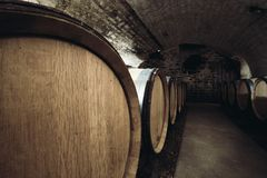 Baryłki w wino lochu zakończeniu obrazy stock