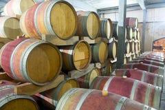 Baryłki wino na winie uprawiają ziemię w Południowa Afryka Obraz Royalty Free