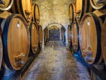 Baryłki dla winemaking w Tuscany Zdjęcie Stock