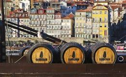 Baryłki Sandeman portu wino w Porto Zdjęcia Stock