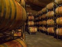 Baryłki wino w wytwórnia win lochu Zdjęcia Stock