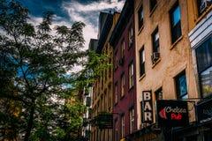 Bary na 23rd ulicie w Chelsea, Nowy Jork Obraz Royalty Free