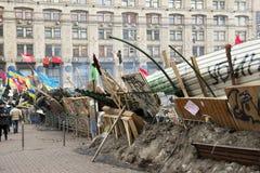 Barykady w ulicach Kyiv fotografia royalty free