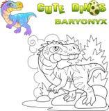 Baryonyx depredador prehistórico del dinosaurio, ejemplo divertido stock de ilustración