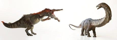 A Baryonyx Dinosaur Menaces  an Herbivorous Sauropod Stock Image