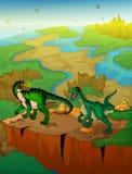 Baryonyx en roofvogel met landschapsachtergrond stock illustratie