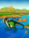 Baryonyx op de rivierachtergrond Stock Foto's