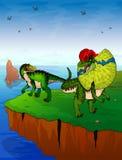 Baryonyx y dilophosaurus en el fondo del mar Fotos de archivo