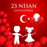 baryrami nisan du cocuk 23 Traduction : Jour turc du ` s d'enfants du 23 avril illustration de vecteur
