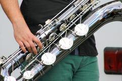 Baryton- saxofon Royaltyfri Fotografi