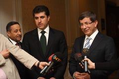 Barzani e Davutoglu Fotografia Stock