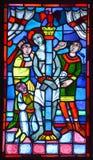Basílica de janelas de vitral do Notre-Dama-du-tampão Fotografia de Stock
