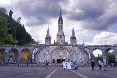 Basílica de nossa senhora da concepção imaculada, Lourdes, França fotos de stock royalty free