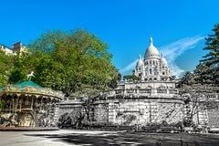 Basílica de Sacre Coeur em Paris no dia de verão Opinião do vintage Sacre Coeur na foto retro velha do estilo de Paris Imagem de Stock Royalty Free