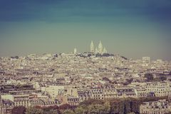 Basílica de Sacre Coeur no monte em Paris Imagens de Stock Royalty Free