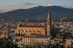 Basílica de Santa Croce en la puesta del sol, Florencia Imágenes de archivo libres de regalías