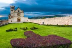 Basílica de St Francis de Assisi en Umbría, Italia Imagenes de archivo