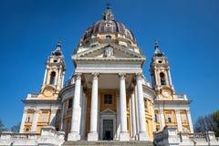 Basílica de Superga no monte de Superga, Turin foto de stock