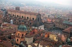 Basílica di San Petronio e praça Maggiore Bolonha, Itália Imagem de Stock Royalty Free