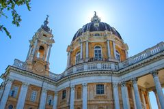Basílica di Superga, uma igreja barroco em montes de Turin Torino, Itália, Europa imagem de stock
