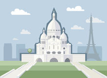 Basílica do coração sagrado de Paris ilustração royalty free