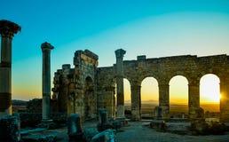 Basílica do local de Volubilis Fotografia de Stock