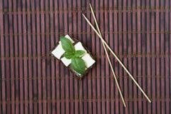 Basílica e chees verdes no brinde Fotografia de Stock