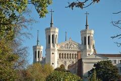 Basílica Fourviere del parque imagen de archivo libre de regalías