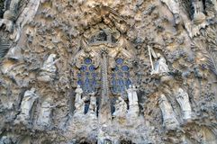 Sculptural group at the Cathedral of the Holy Family royalty free stock photos