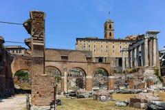 Basílica Julia en Roman Forum en la ciudad de Roma foto de archivo libre de regalías