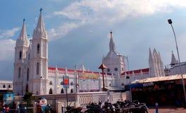 A basílica mundialmente famosa de nossa senhora da boa saúde no velankanni fotografia de stock