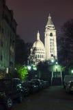 A basílica na noite, Paris de Sacre Coeur Fotos de Stock