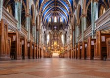 Basílica Ottawa da catedral de Notre-Dame fotos de stock