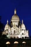 Basílica por noche, París de Sacre-Coeur Fotos de archivo