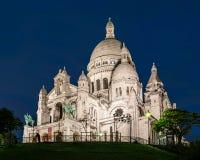 Basílica Sacre Coeur en la noche Fotos de archivo
