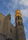 Basílica Santa Maria Del Mar em feixes do por do sol Fotografia de Stock