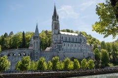 Basílica superior - Lourdes France imagens de stock royalty free