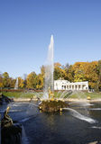 bas大古铜色级联建筑装饰详细资料五十五喷泉喷泉四全部涌出一百最大的其他一宫殿peterhof彼得斯堡替补俄国samson雕刻六十个st二世界 库存照片