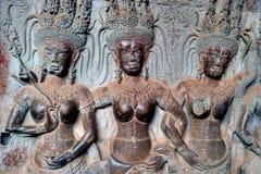 Bas-ανακούφιση σε Angkor Wat στην Καμπότζη στοκ εικόνα