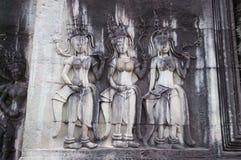 Bas-ανακούφιση σε Angkor Wat Στοκ Εικόνα