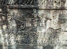 Bas-ανακούφιση στον τοίχο, Angkor, Καμπότζη Στοκ Εικόνες