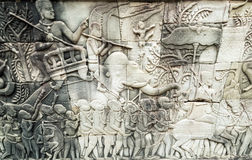 Bas-ανακούφιση στον τοίχο, Angkor, Καμπότζη Στοκ εικόνα με δικαίωμα ελεύθερης χρήσης
