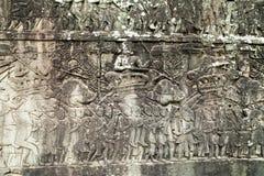 Bas-ανακούφιση στον τοίχο, Angkor, Καμπότζη Στοκ Φωτογραφίες