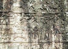 Bas-ανακούφιση στον τοίχο, Angkor, Καμπότζη Στοκ φωτογραφίες με δικαίωμα ελεύθερης χρήσης