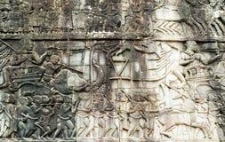 Bas-ανακούφιση στον τοίχο, Angkor, Καμπότζη Στοκ εικόνες με δικαίωμα ελεύθερης χρήσης