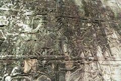 Bas-ανακούφιση στον τοίχο, Angkor, Καμπότζη Στοκ Εικόνα