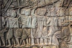 Bas-ανακούφιση στον τοίχο Angkor Wat Στοκ Εικόνα