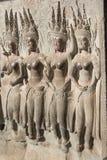 Bas-ανακούφιση στους τοίχους των Watt Angkor Στοκ Φωτογραφία